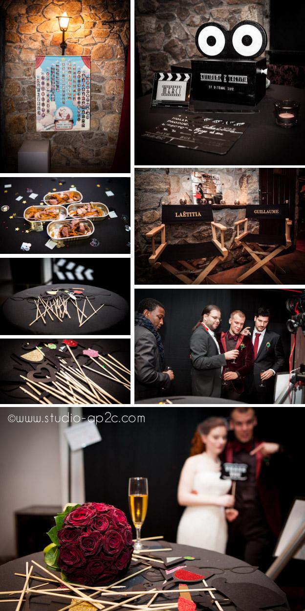studio mobile de type photomaton et photo booth au vin d'honneur sur le thème du cinéma