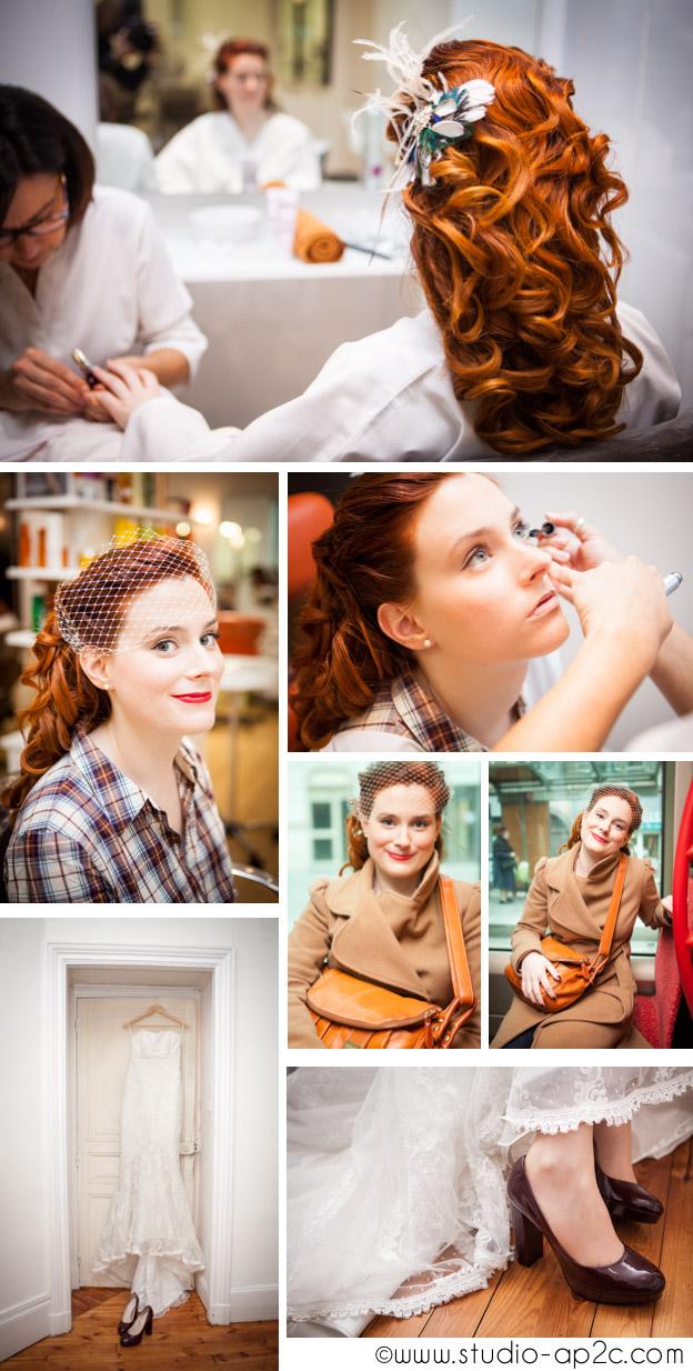 Mariage rétro chic et préparatifs de la mariée à Clermont Ferrand, habillage, coiffure et maquillage