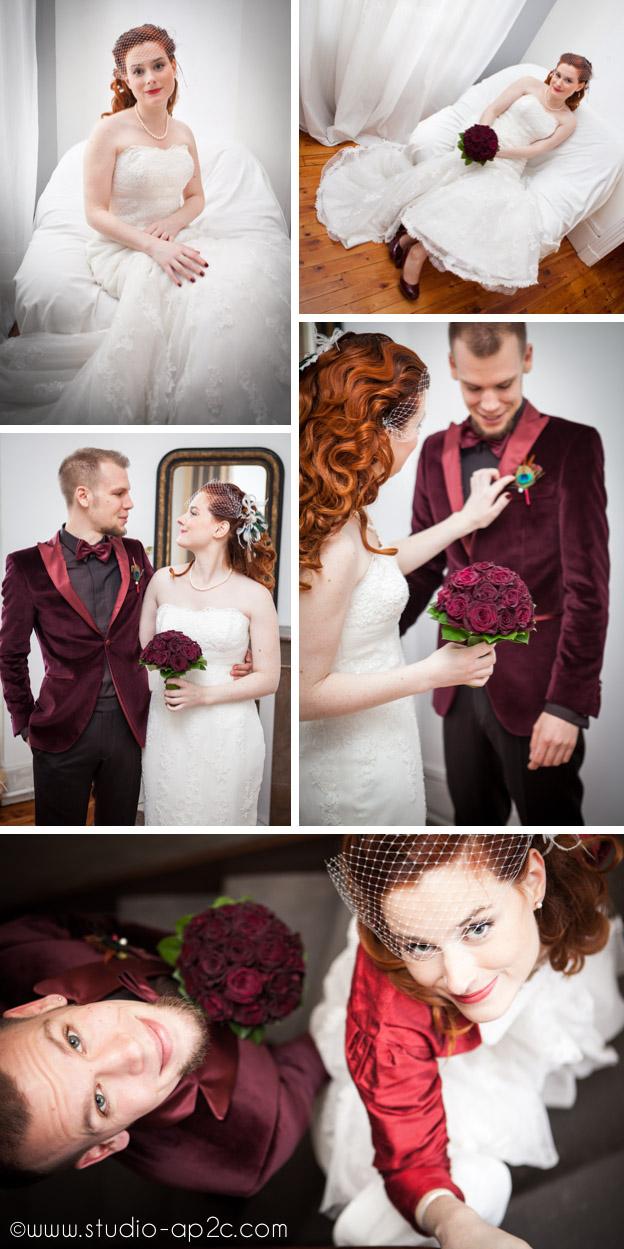 Préparatifs des mariés à Clermont Ferrand mariage rétro chic