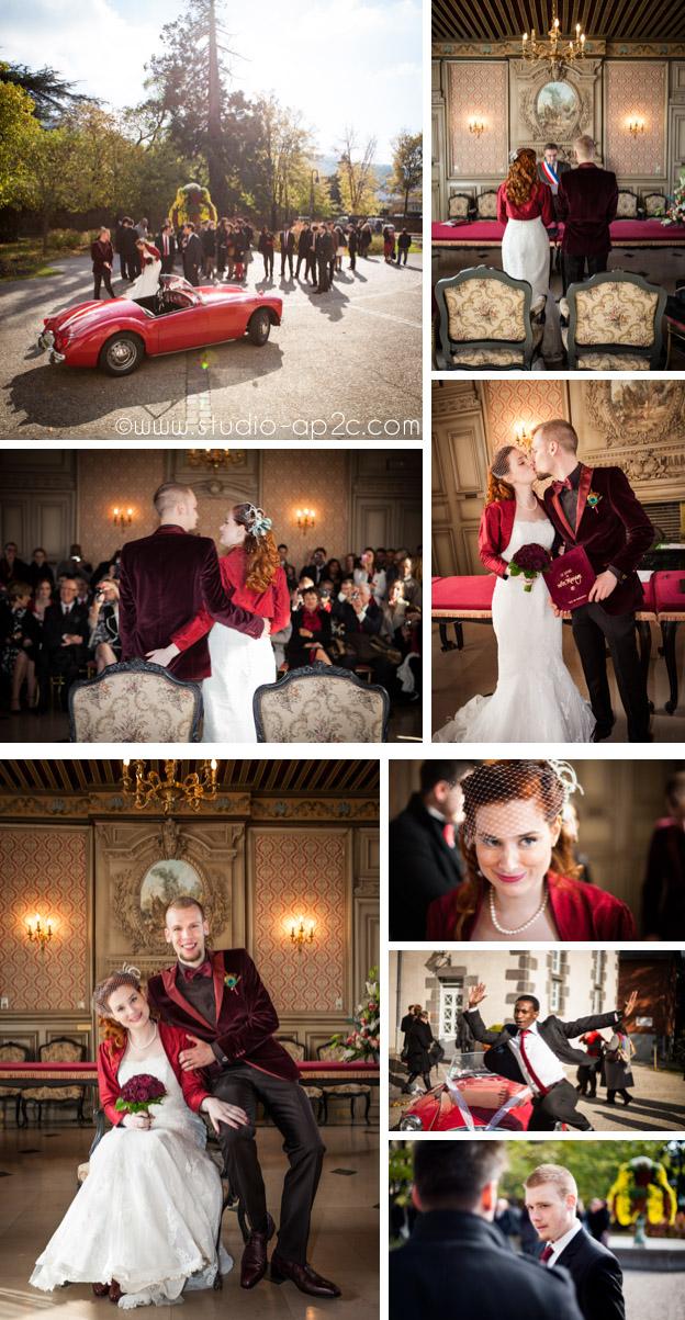 Mariage rétro chic cérémonie à la mairie de Romagnat du mariage près de Clermont-ferrand