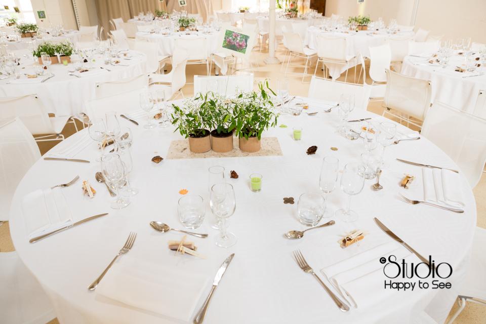 décoration végétale table mariage au Moulin à Vent photographe de mariage dans le Tarn