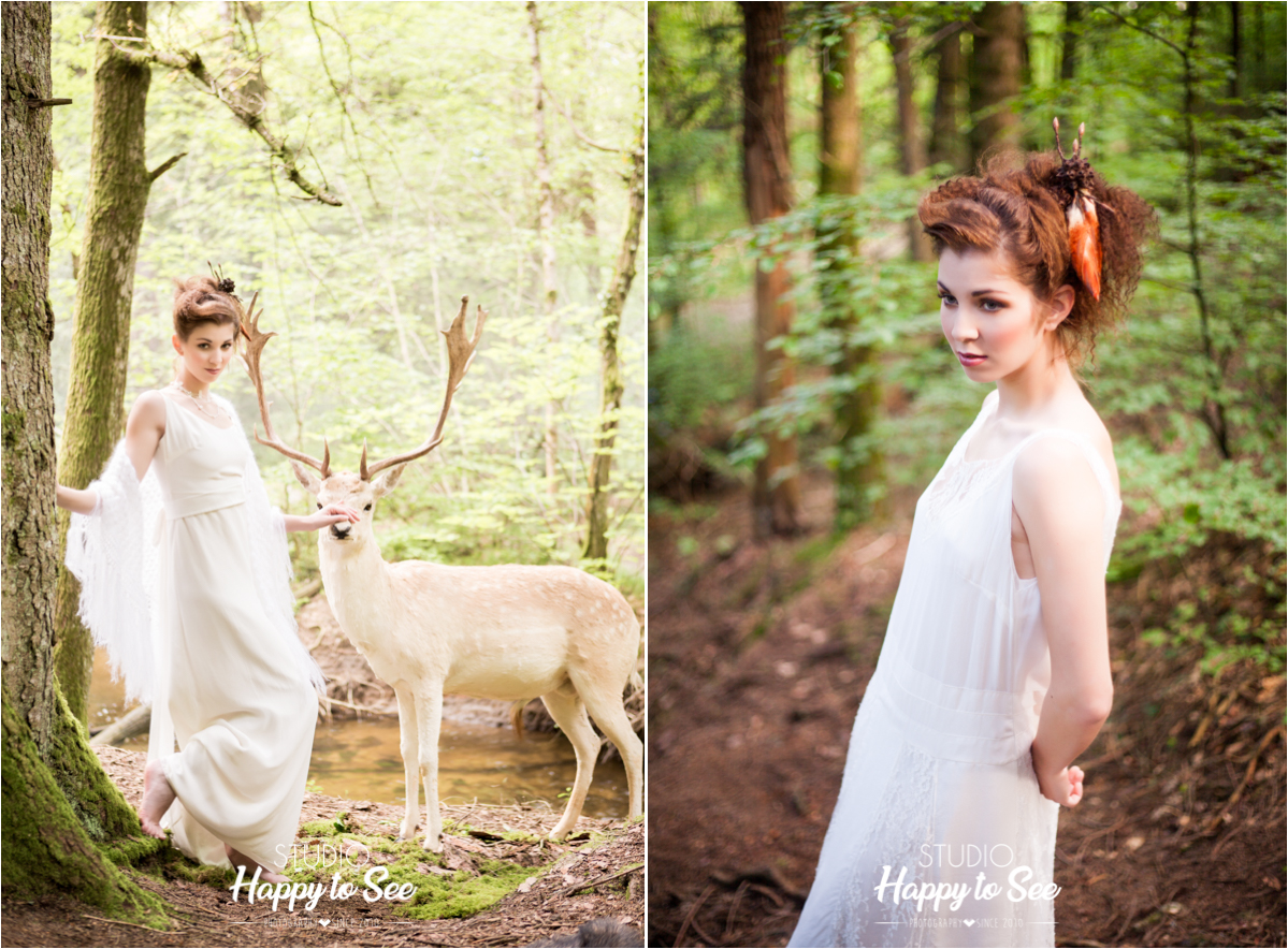 shooting inspiration mariage foret avec un cerf