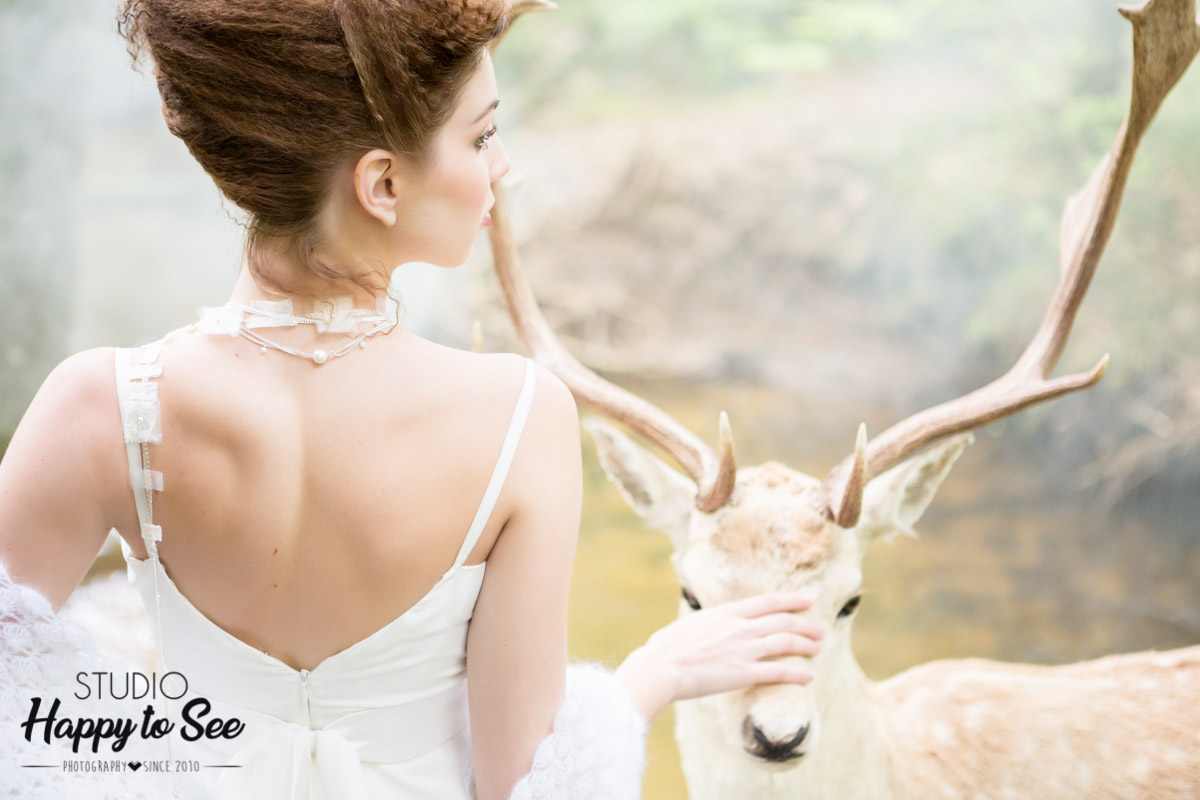 seance photo mariage en foret ambiance champetre bucolique cerf
