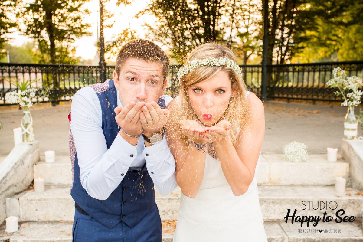 seance photo mariage paillettes dorees