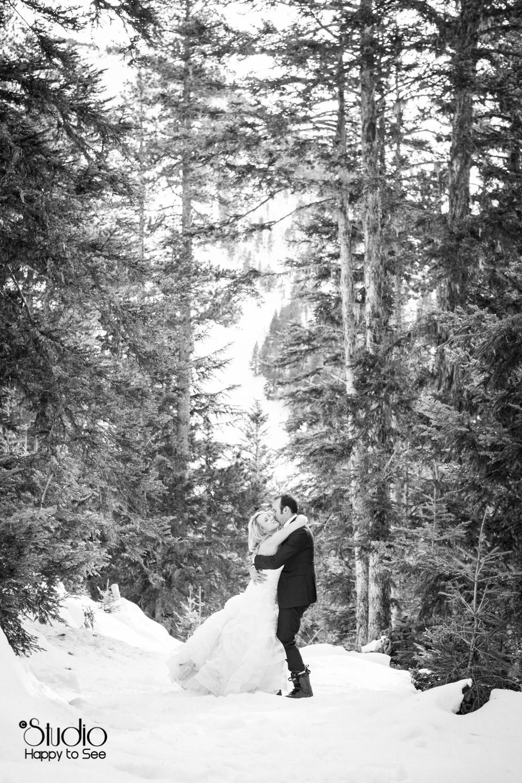 Mariage trash the dress a la neige