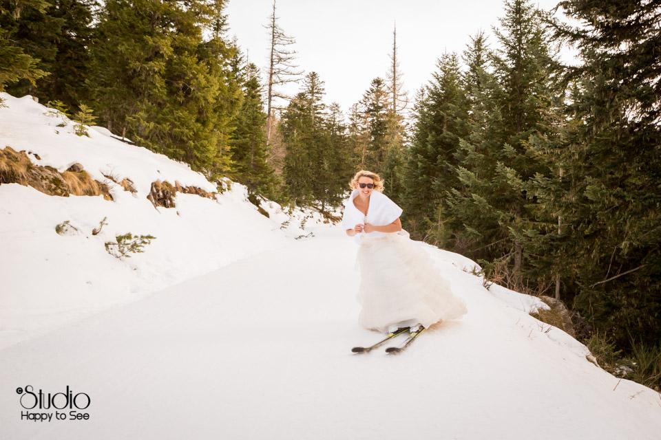 Mariage ski trash the dress