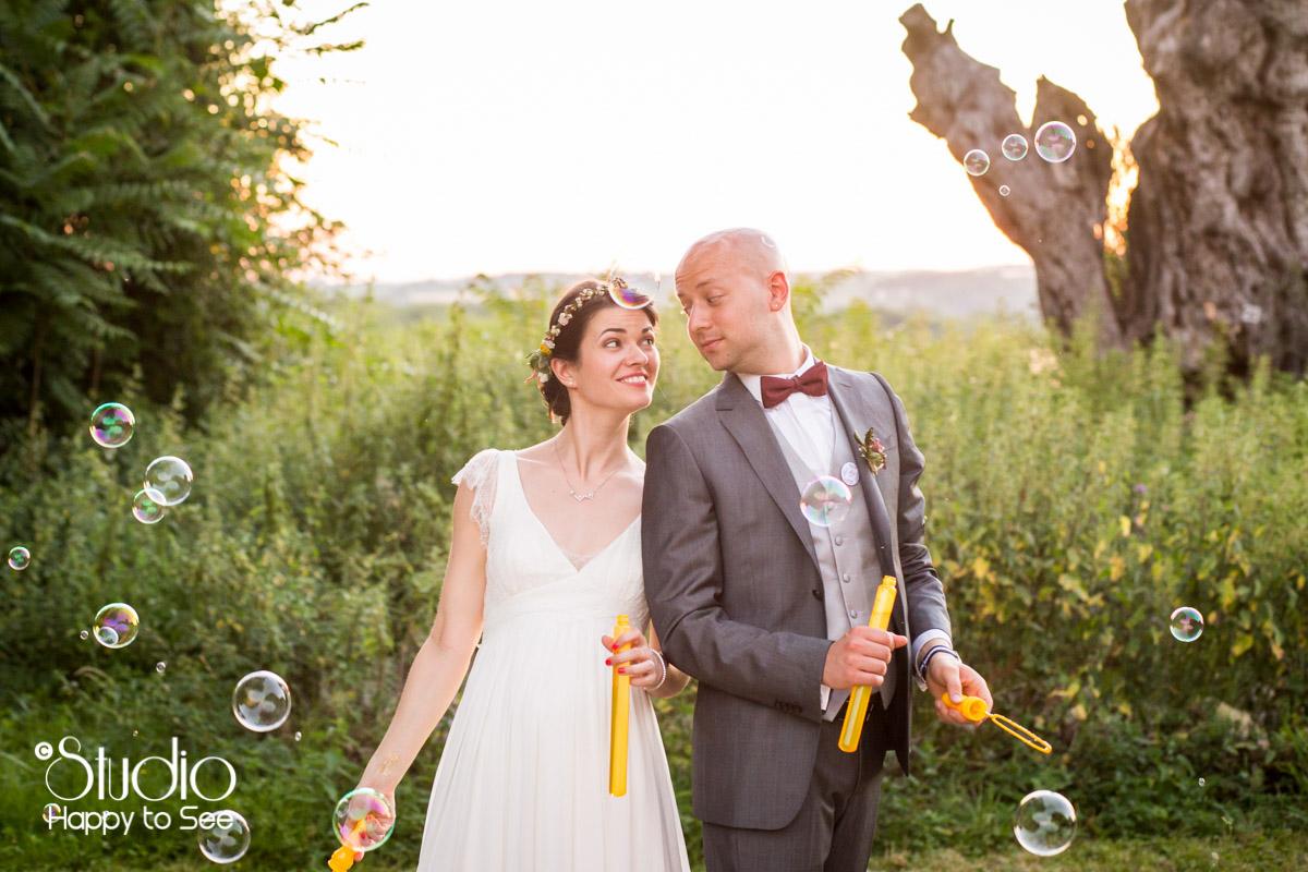 Mariage funky bulles de savon