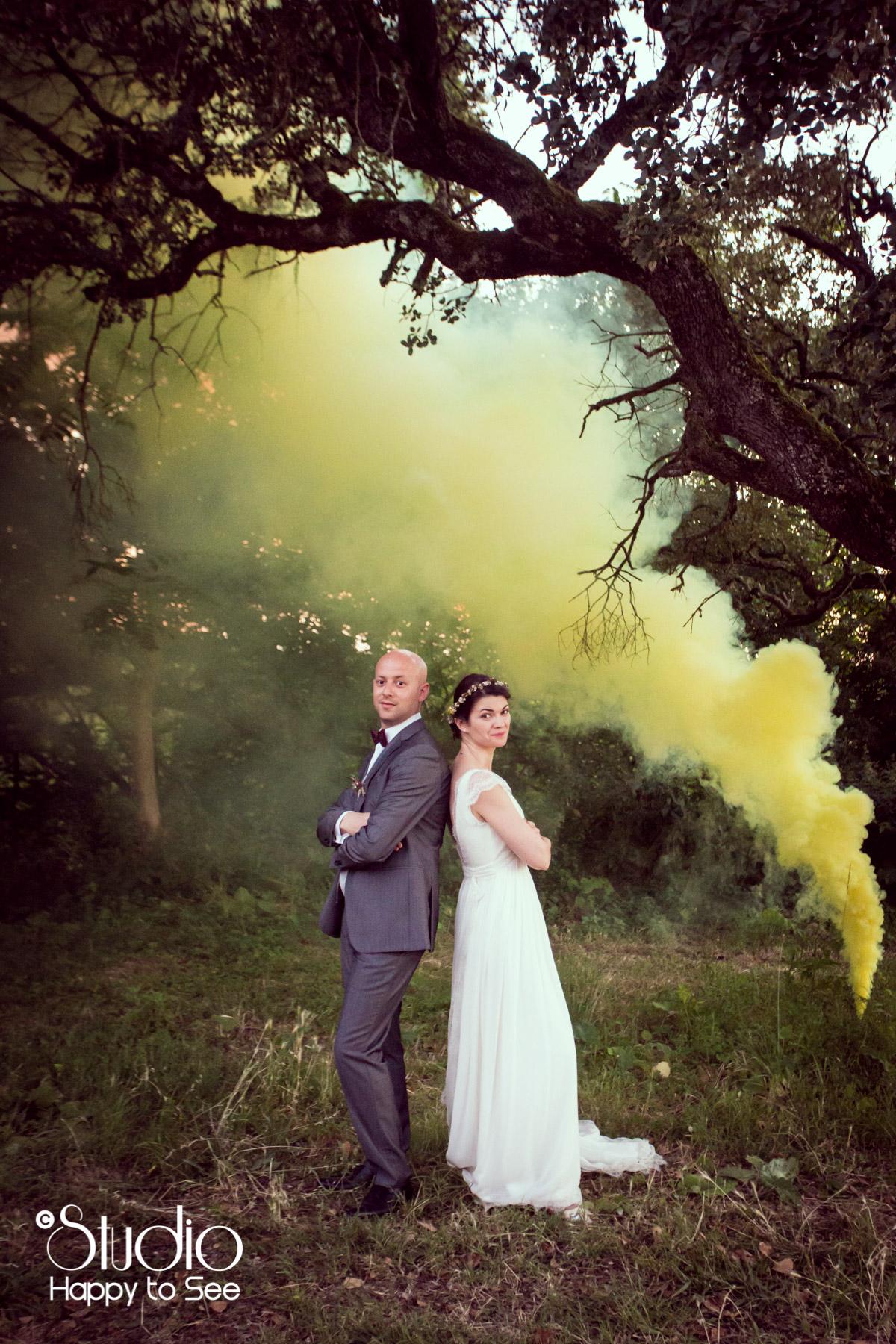 Mariage funky fumigenes