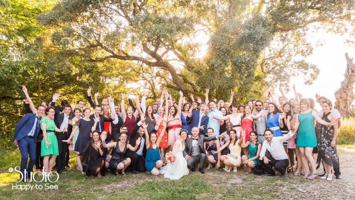 photo de groupe mariage funky