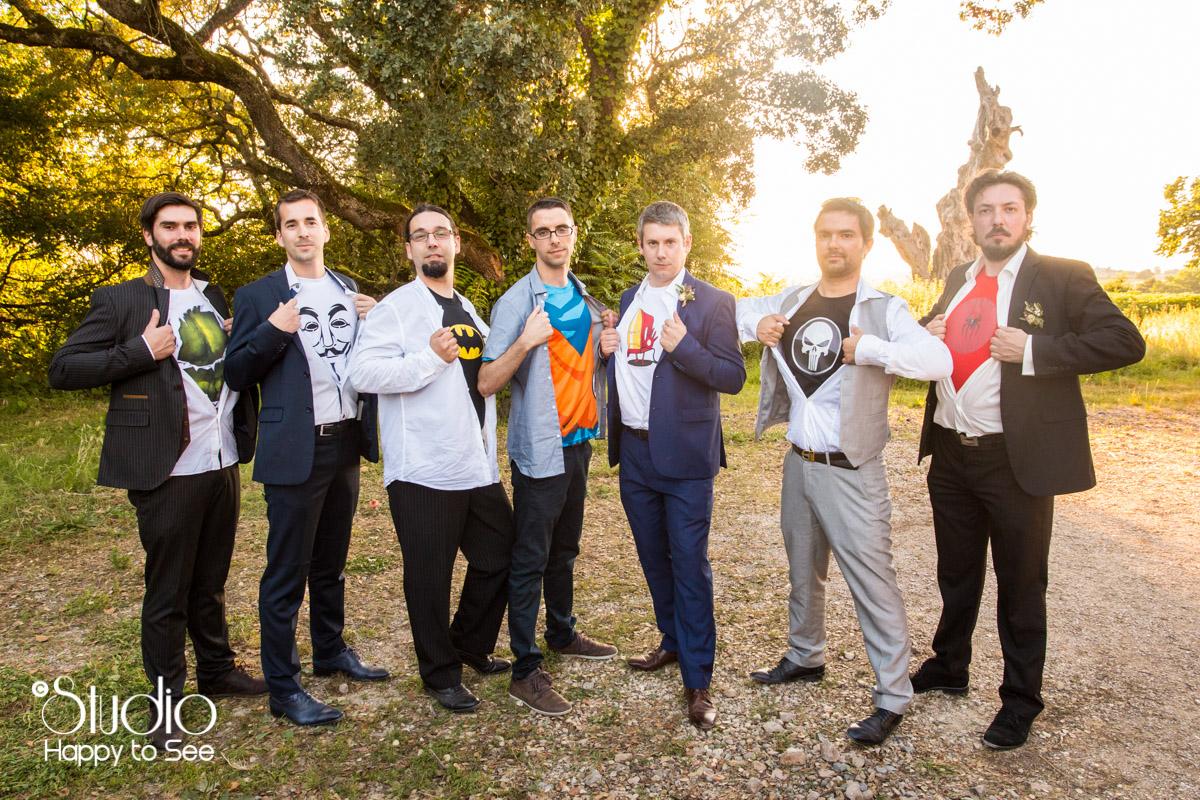 photo de groupe mariage funky geek