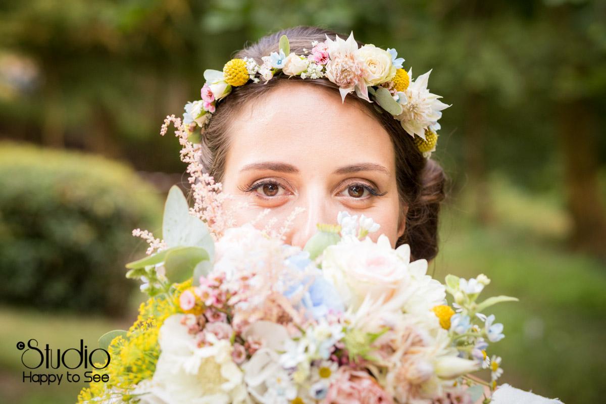 Couronne et bouquet de fleurs mariage champetre
