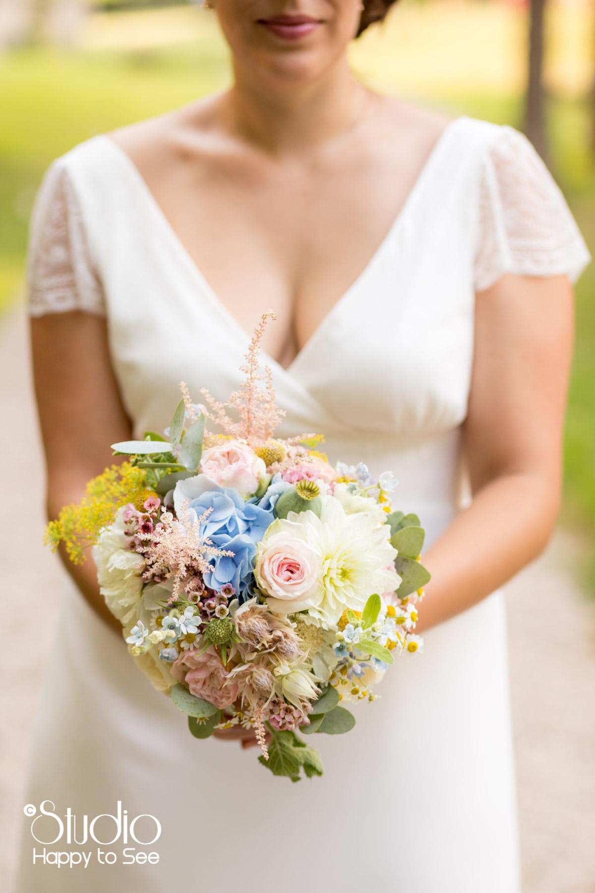 Bouquet de fleurs pastel et champetre