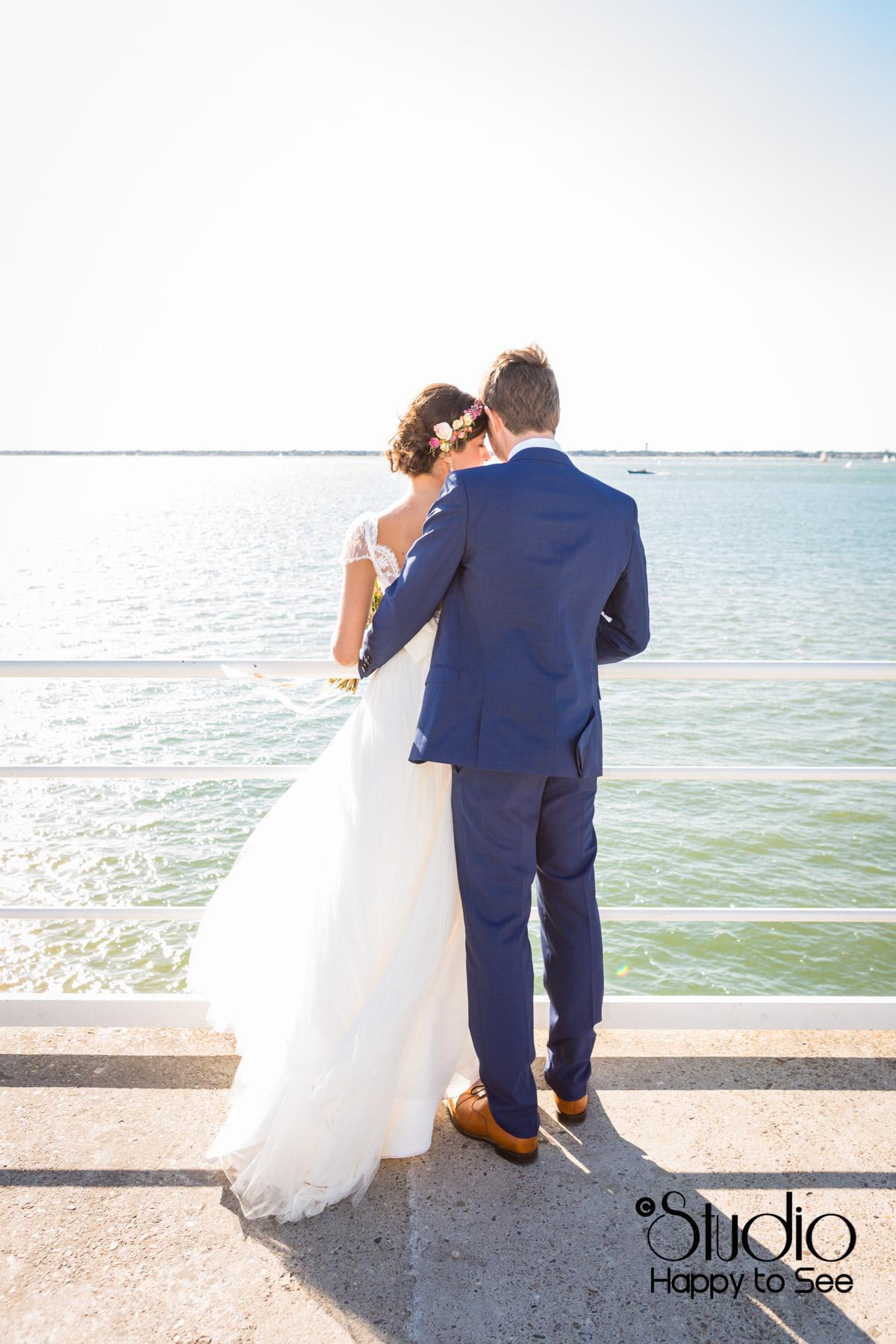 Mariage au bassin d'arcachon seance bord de mer