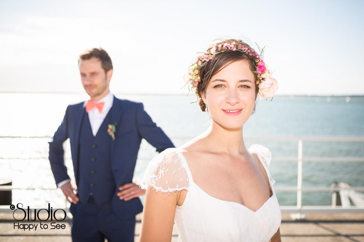 Mariage au bassin d'arcachon seance photo bord de mer