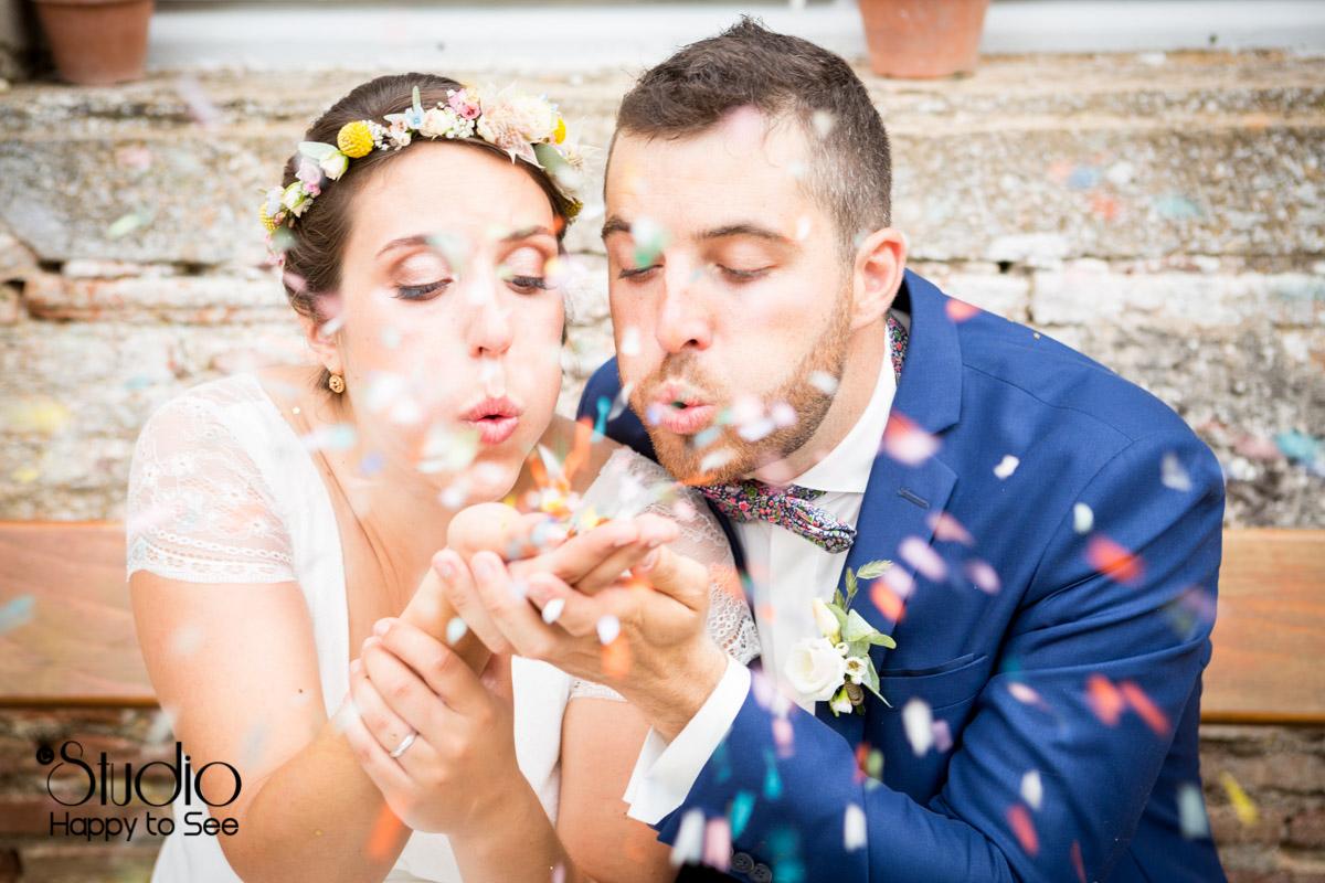 confettis pour un mariage tendance et coloré