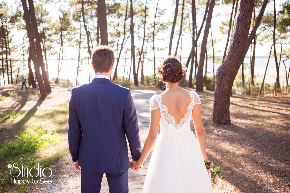 mariage au tir au vol arcachon seance photo foret de pins