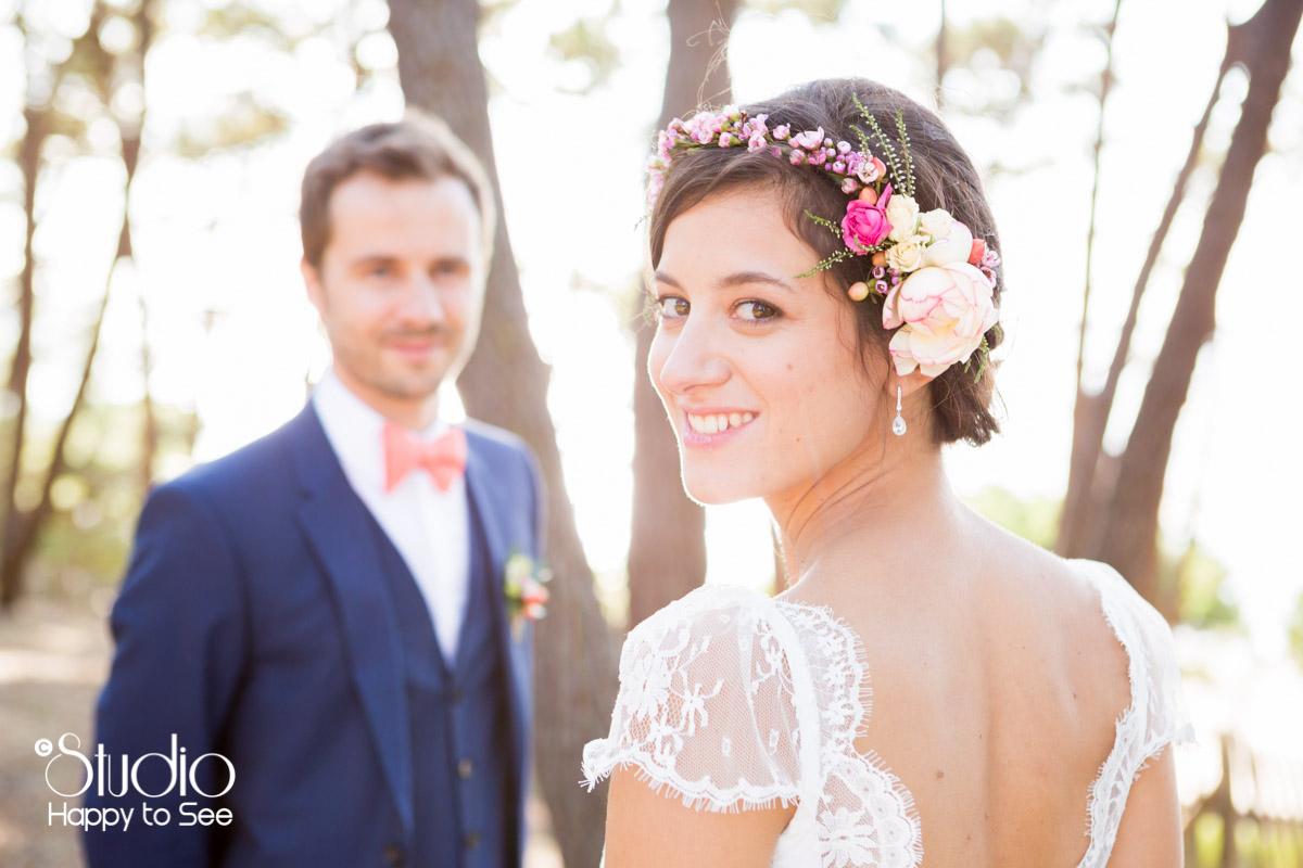 mariage arcachon seance photo funky dans une foret de pins