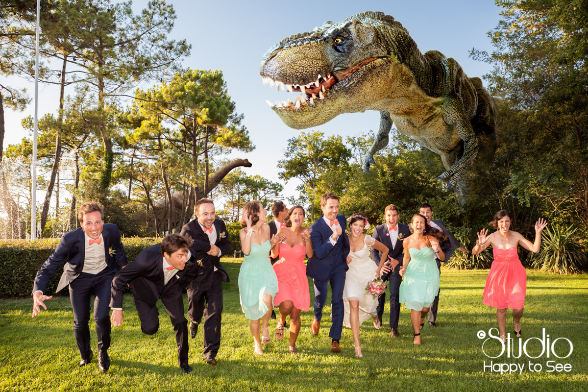 mariage T-Rex au tir au vol arcachon wedding geek dinosaure