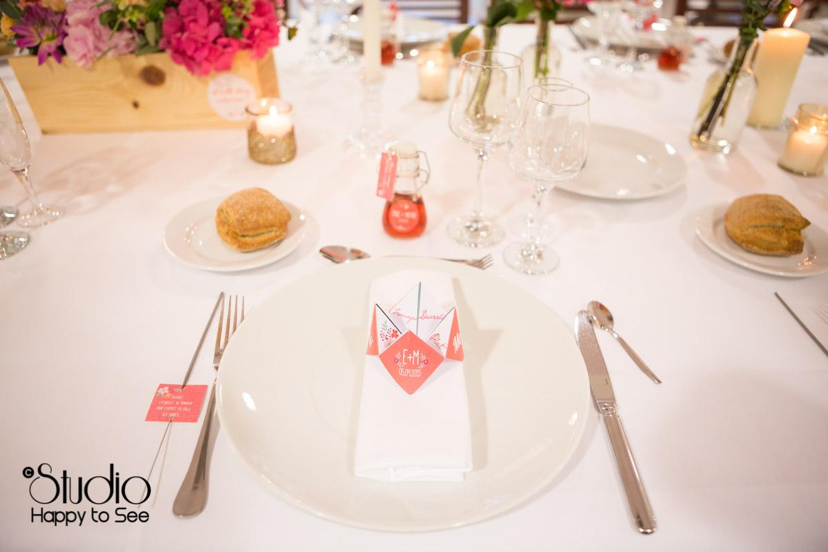 mariage salle tir au vol menu en cocotte origami