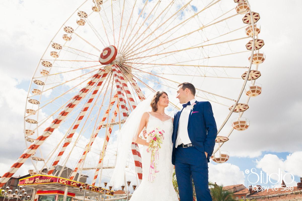 Mariage colore toulouse grande roue bord de garonne