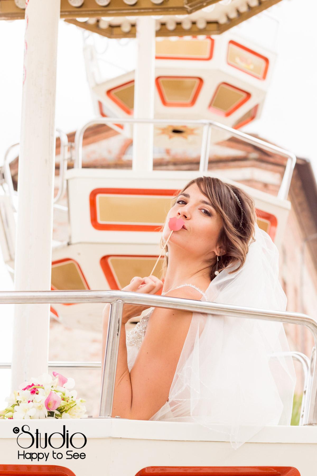 seance photo mariage grande roue en bord de garonne toulouse