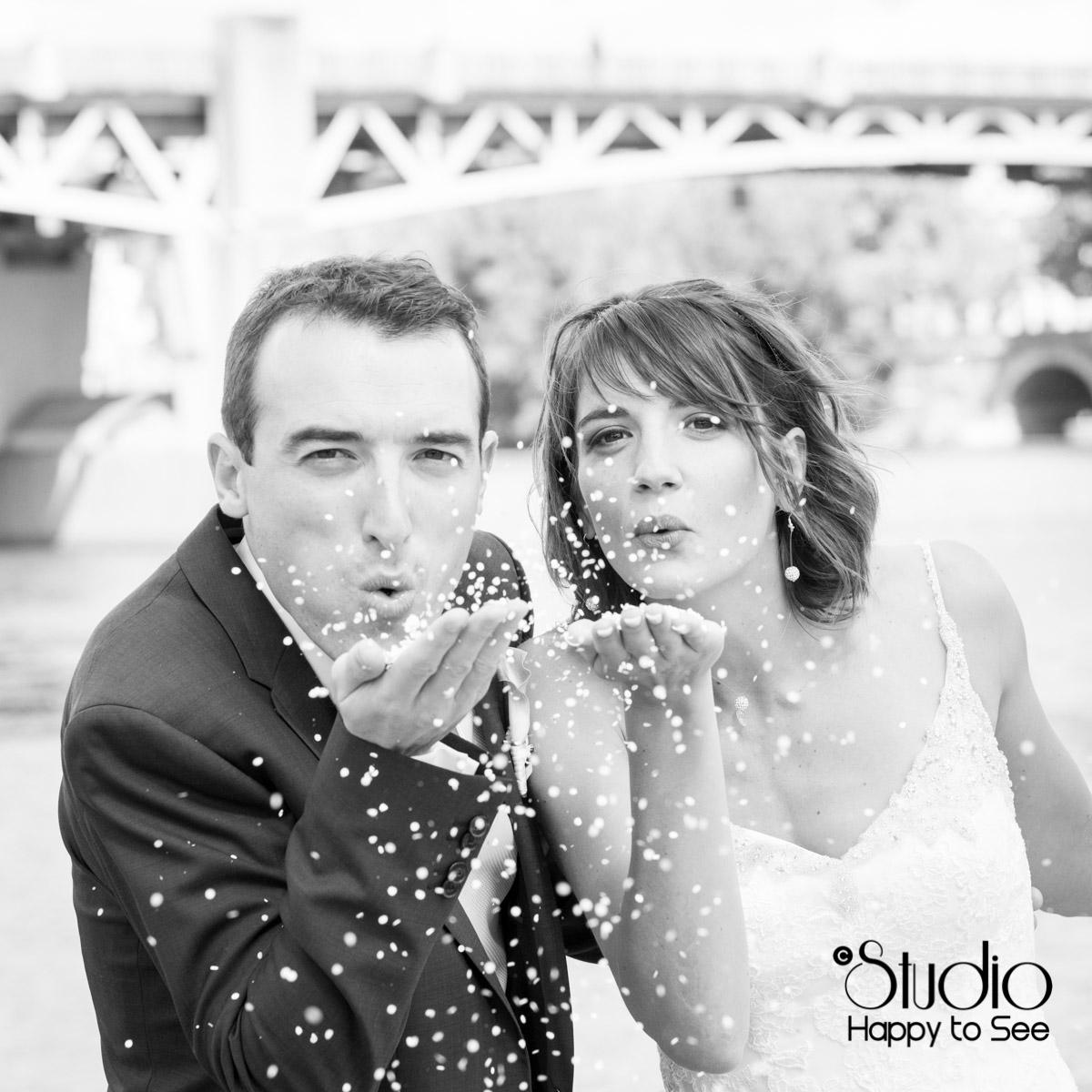 Seance photo mariage en bord de garonne a Toulouse