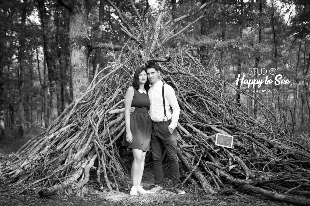 seance photo engagement Mariage tipi foret Buzet sur Tarn