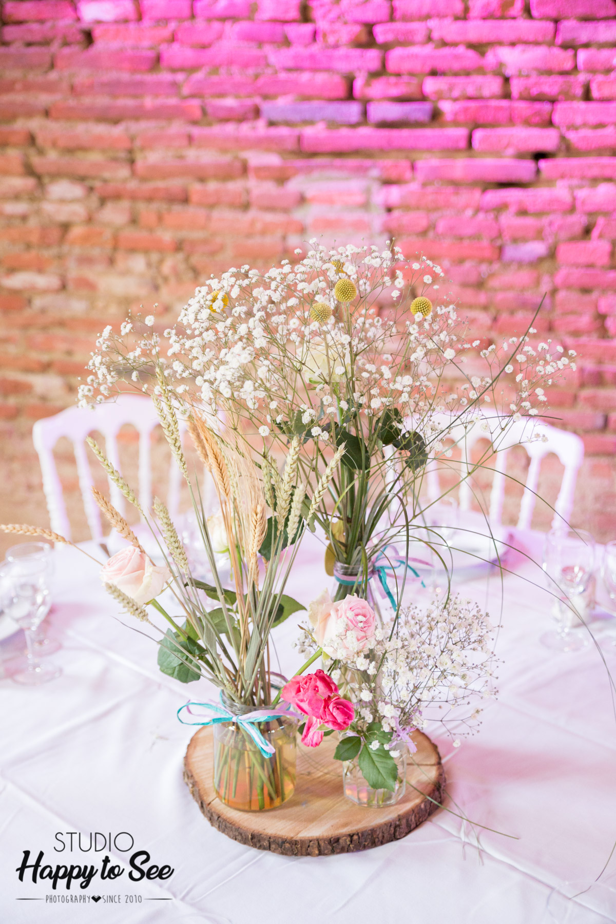 bouquet champetre centre de table mariage - studio happy to see