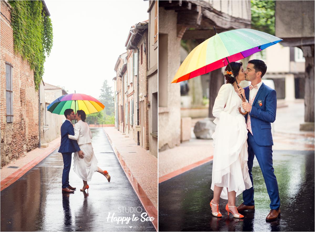 Photographe Mariage funky sous la pluie