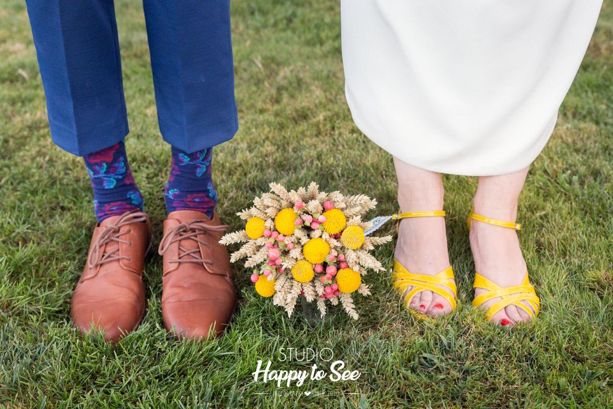 mariage bleu et jaune chateau de merville