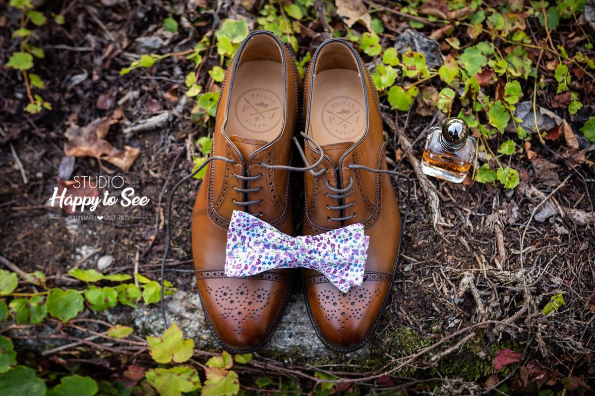 Chaussure mariage Prince Jorge et noeud papillon liberty Blandin & Delloy