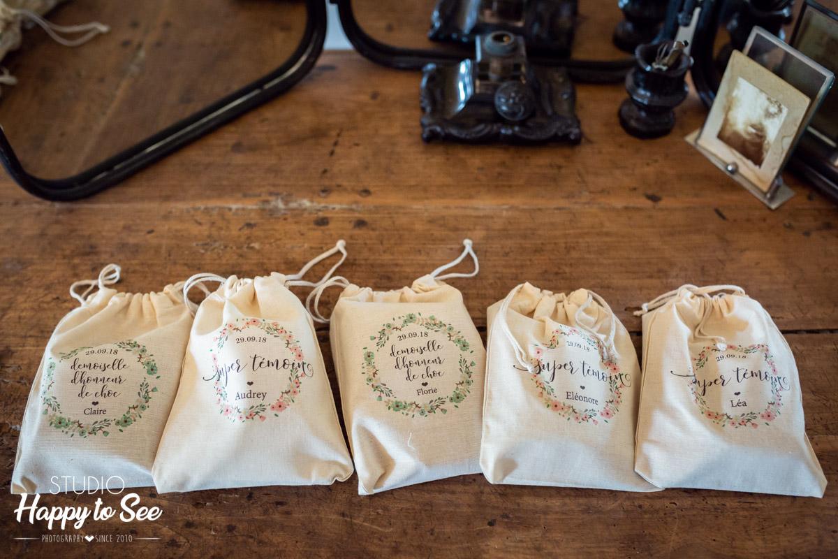 pochons surprises témoins mariage demoiselle d'honneur