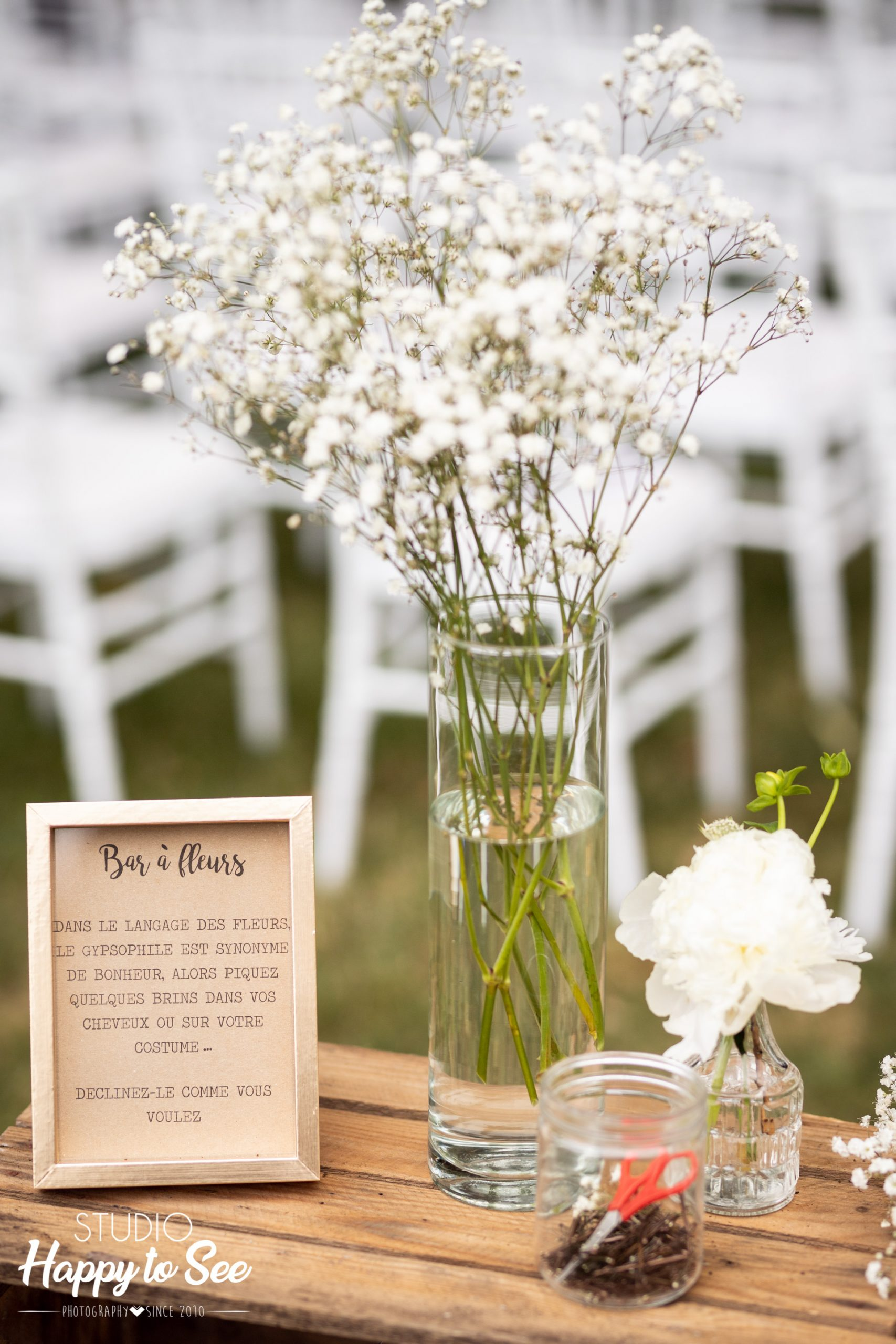 Mariage dans le Tarn Bar à fleurs