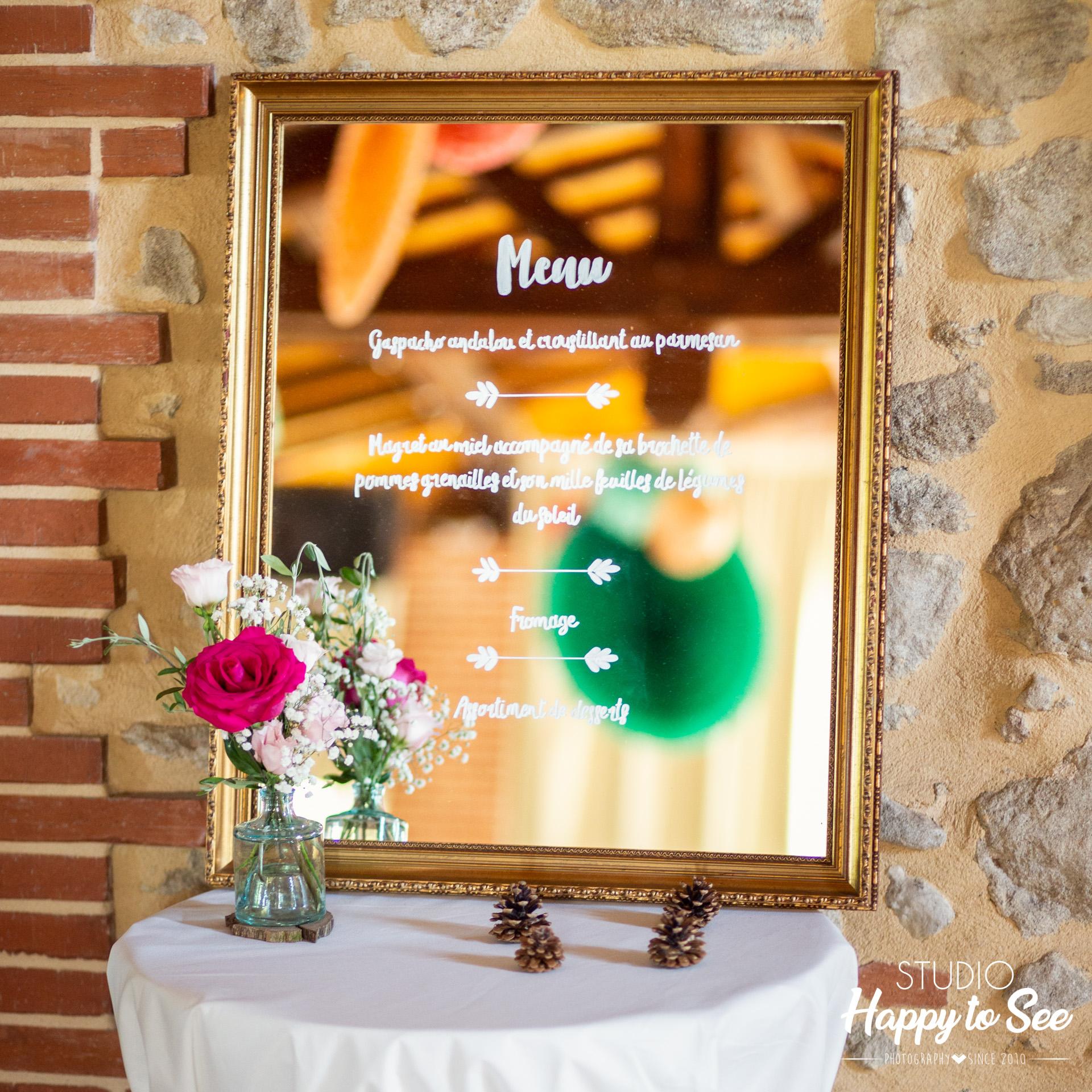 Decoration mariage tendance menu