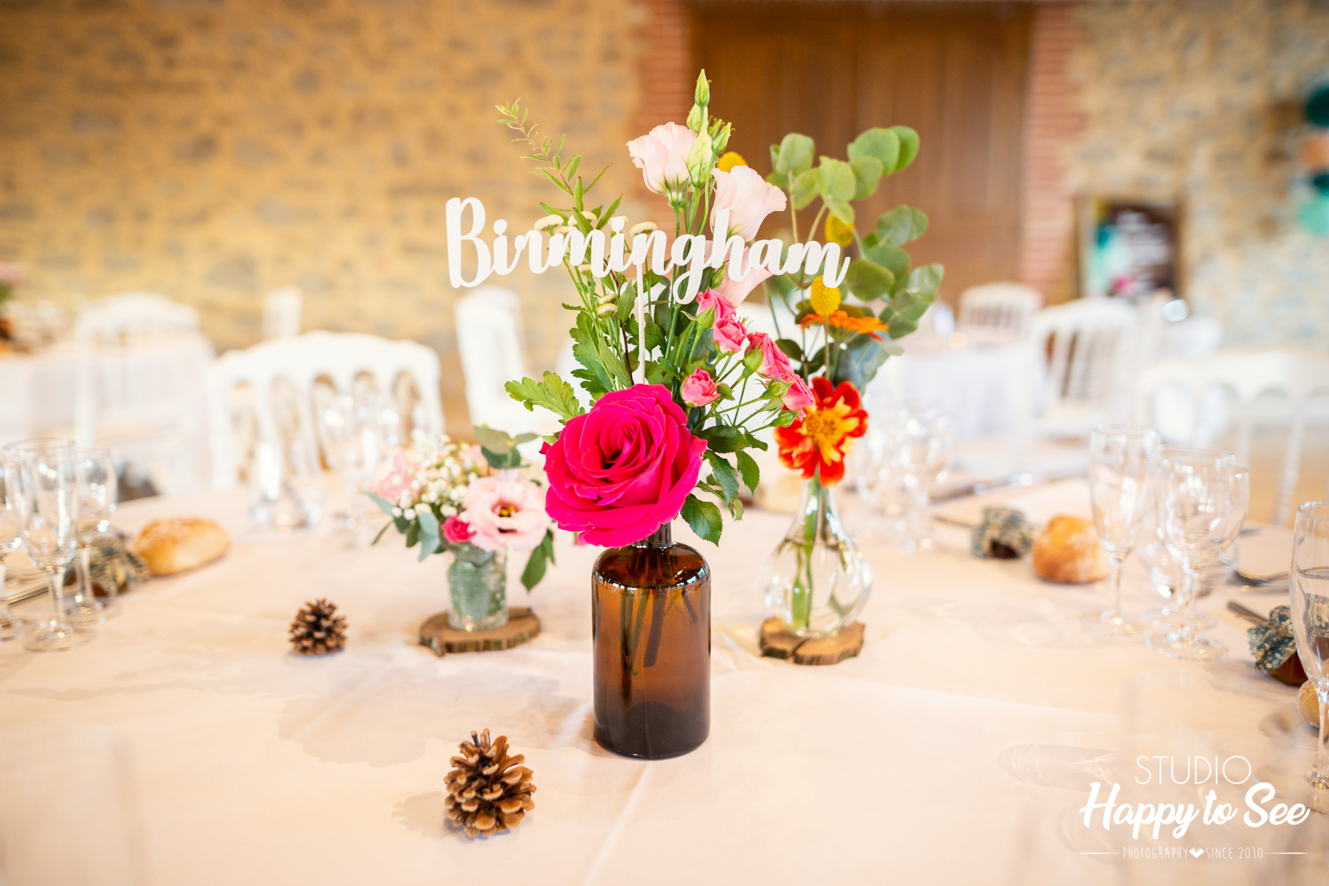 Salle mariage Domaine Combe Ramond decoration table