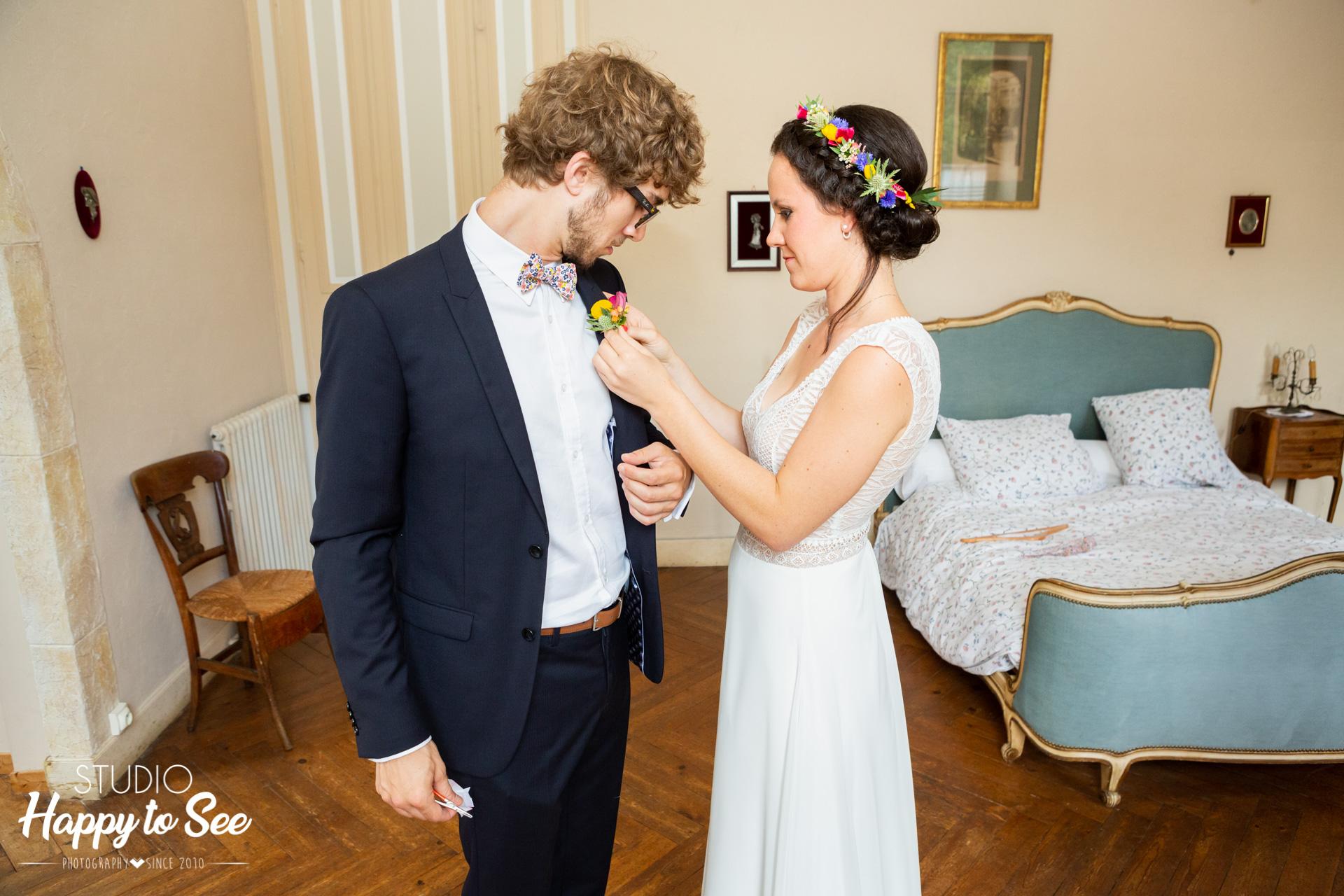 Préparatifs de la mariée au Château du croisillat