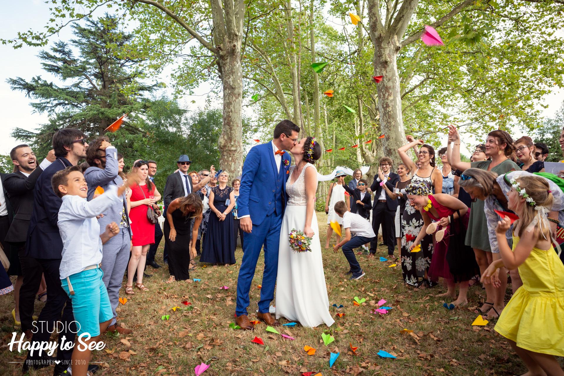 Cérémonie Laïque mariage coloré chateau du croisillat