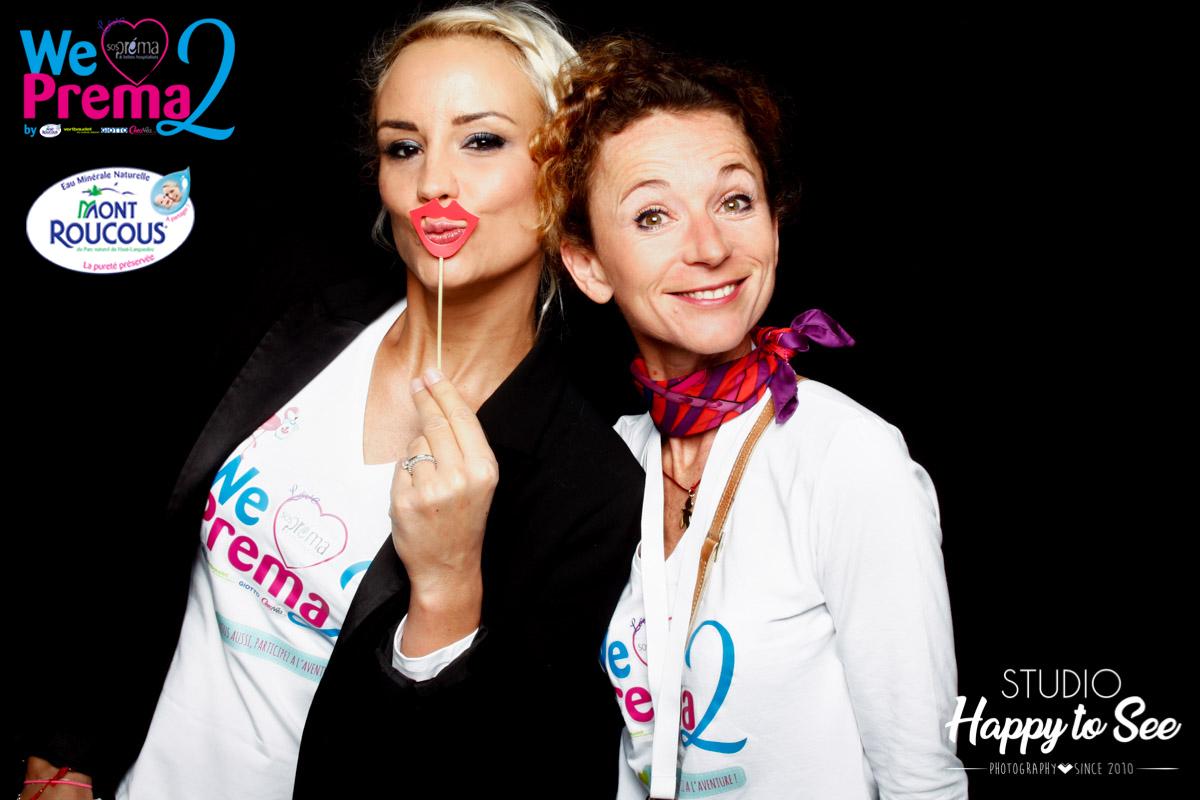 Photobooth corporate Eaux mont roucous et Elodie Gossuin mascotte sos prema